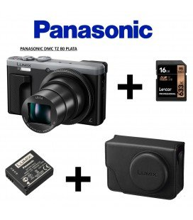 PANASONIC TZ 80 ARGENTO + VALIGETTA RETRÒ + BATTERIA +16 GB  95MBS