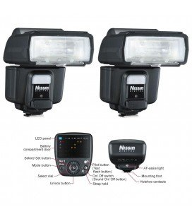 NISSIN KIT2 I60 OLYMPUS/PANASONIX 2 FLASHES + TRANSMISOR AIR 1