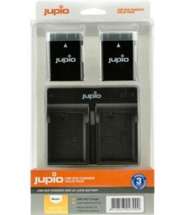 JUPIO KIT CHARGEUR USB DOUBLE + 2 BATTERIES EN-EL14A 1100MAH (CNI1003)