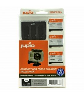 JUPIO KIT GOPRO  CHARGEUR 3USB + 3 BATTERIES  AHDBT-401 HERO4