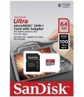 SANDISK ULTRA MICROSD XC UHS-I + ADAPTADOR SD SANDISK - 64GB - CLASE 10 - 100MB / S
