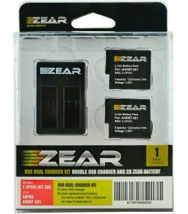 ZEAR KIT 2 BATTERIES + DOUBLE CHARGER GOPRO AHDBT-501, AABAT-001 HERO5 / HERO6