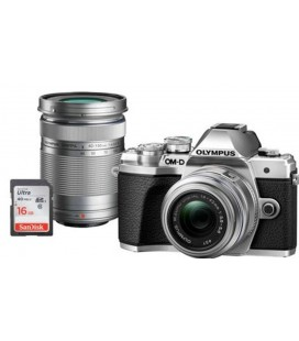 OLYMPUS E-M10 Mark III DZK IIR  (1442 IIR + 40150R) PLATA + FUNDA + 16GB SD UHS-I KIT EXCLUSIVO SOLO CANARIAS