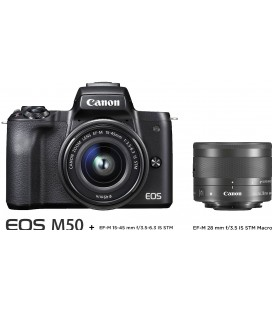 CANON M50 15-45 + EF-M 28MM f:3.5 IS STM - KIT MACRO